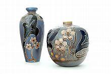 TWO AVON FAIENCE POTTERY VASES.