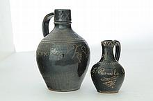 TWO VINTON COUNTY, OHIO, SGRAFFITO-DECORATED JUGS.