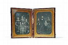 TWO HALF PLATE DAGUERREOTYPES OF US REPRESENTATIVE PETER WILSON STRADER AND HIS FAMILY BY JAMES PRESLEY BALL.