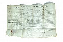 OHIO TERRITORY LAND GRANT SIGNED BY JOHN QUINCY ADAMS.