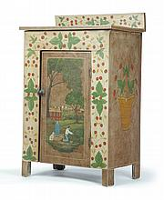 DIMINUTIVE CUPBOARD DECORATED BY LEW HUDNALL (OHIO, 1918-1995).