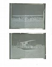 TWO GLASS PLATE NEGATIVES OF A WRIGHT BROTHERS FLYER.
