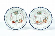 PAIR OF ENGLISH SOFTPASTE SOUP PLATES.