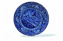 HISTORICAL BLUE STAFFORDSHIRE PLATE.