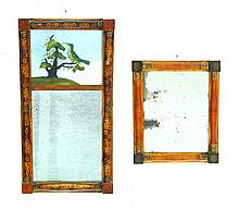 TWO MIRRORS WITH GRAIN DECORATED FRAMES.