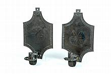 PAIR OF AMERICAN TIN WALL SCONCES.