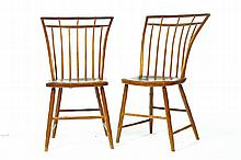 SET OF FOUR BIRDCAGE BAMBOO TURNED WINDSOR CHAIRS.
