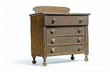 AMERICAN DECORATED MINIATURE CHEST OF DRAWERS.