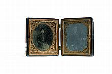 SIXTH PLATE DAGUERREOTYPES OF A SOLDIER AND YOUNG WOMAN.