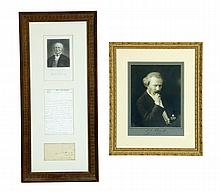 HORACE GREELEY AUTOGRAPH LETTER SIGNED AND SIGNED PHOTOGRAPH OF IGNACY JAN PADEREWSKI.