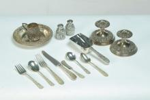 SET OF KIRK REPOSE STERLING FLATWARE WITH EXTRAS.