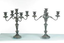 PAIR OF FIVE-BRANCH SILVER PLATE CANDELABRAS.