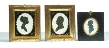 THREE FRAMED HOLLOW CUT SILHOUETTES.