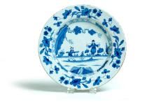 FAIENCE BLUE AND WHITE PLATE.