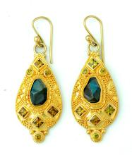 GOLD AND GEMSTONE DROP EARRINGS