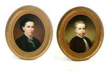 TWO FRAMED OVAL OIL ON CANVAS PORTRAITS.