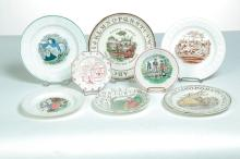 EIGHT MAXIM AND A.B.C. CHILDRENS PLATES.