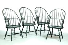 FOUR DAVID T. SMITH SACK-BACK CONTINUOUS ARM WINDSOR-STYLE CHAIRS.