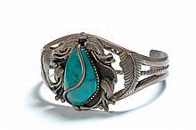 AMERICAN INDIAN CUFF BRACELET BY ANDY LEE KIRK (NAVAJO, 1947-2001).