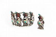 AMERICAN INDIAN STERLING SILVER INLAID CUFF BRACELET AND MATCHING RING.