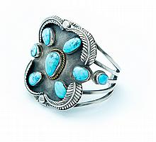 SILVER AND TURQUOISE CUFF MARKED SAN FELIPE (MID 20TH CENTURY).
