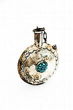 AMERICAN INDIAN SILVER AND TURQUOISE FLASK.