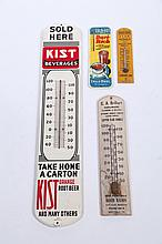 FOUR ADVERTISEMENT THERMOMETERS.