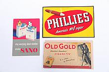 THREE TOBACCO PRODUCT SIGNS.