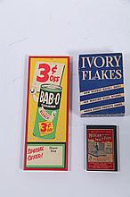 THREE HOUSEHOLD CLEANING ADVERTISMENT ITEMS.