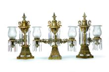 SET OF THREE BRASS ARGAND LAMPS.