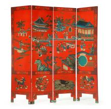 CHINESE LACQUERED FOUR PANEL SCREEN.