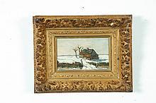 WINTER SCENE BY ARNOLD KONING (NETHERLANDS, 1860-1945).