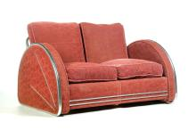 ART DECO LOVESEAT BY DONALD DESKEY FOR ROYAL CHROME.