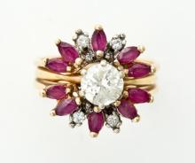DIAMOND SOLITAIRE RING WITH RUBY JACKET