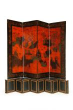 LACQUERED CHINESE SCREEN.