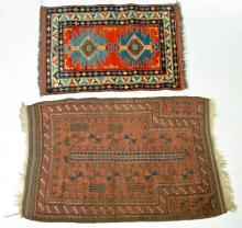 TWO ORIENTAL THROW RUGS.