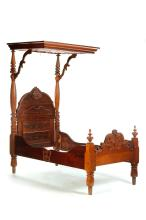 TRANSITIONAL EMPIRE TO VICTORIAN HALF TESTER BED.