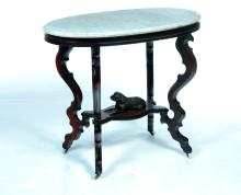 VICTORIAN OVAL MARBLE TOP DOG TABLE.