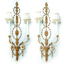 PAIR OF VENETIAN INSPIRED WALL SCONCES.
