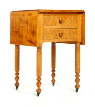 LATE SHERATON TWO-DRAWER DROP LEAF TIGER MAPLE WORK TABLE.