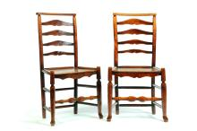 PAIR OF ENGLISH LADDERBACK CHAIRS.