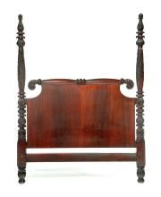 EMPIRE REVIVAL CARVED FOUR-POSTER BED.