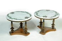 PAIR OF MARBLE-TOP TABLES.