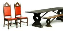 ASSEMBLED DINING ROOM SET IN THE ARTS AND CRAFTS STYLE.