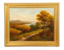 CONTEMPORARY FRAMED OIL ON CANVAS LANDSCAPE SIGNED