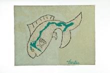 HOOKED RUG WITH FISH.