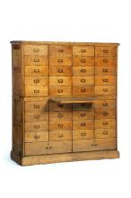 TWO-PIECE, THIRTY-EIGHT DRAWER FILE CABINET.