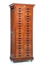 EASTLAKE VICTORIAN FORTY-DRAWER DOUBLE LOCK-FRONT FILE CABINET.
