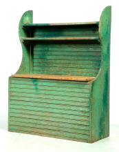 PAINTED COUNTRY BEADBOARD BIN WITH HIGH BACK.