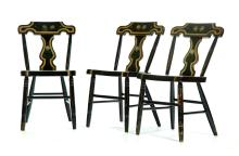 SET OF SIX PAINT DECORATED LATE-EMPIRE CHAIRS.